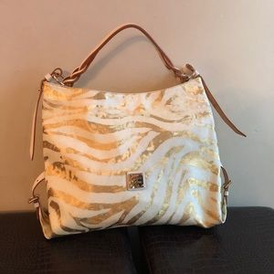Dooney & Bourke Bags - Dooney & Bourke zebra gold white large leather bag